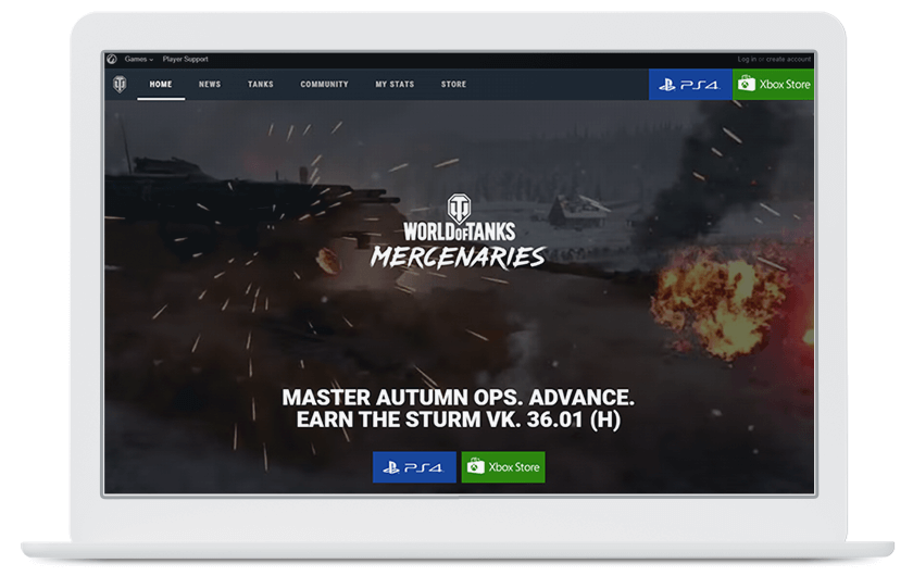 Wargaming Mercenaries website laptop
